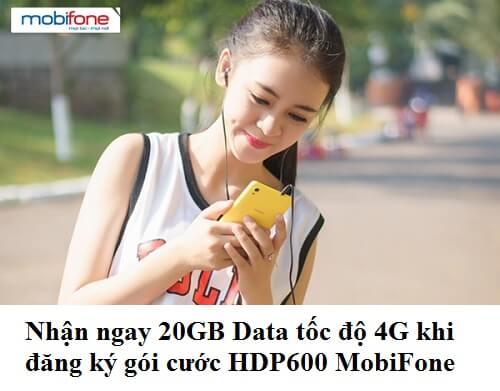 Nhận ngay 20GB Data tốc độ 4G khi đăng ký gói cước HDP600 MobiFone